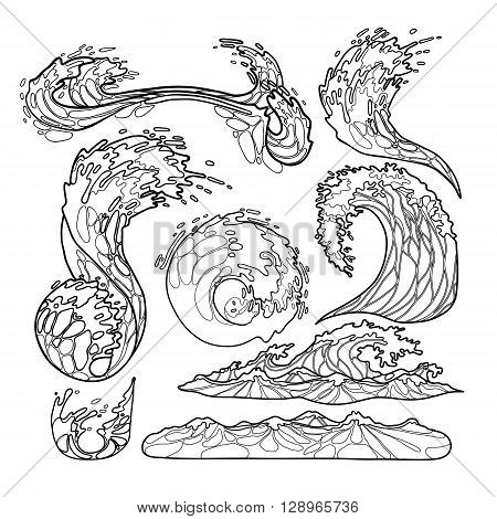 Ocean storm waves collection drawn in line art style. Tsunami. Vector marine elements isolated on white background. Coloring book page design