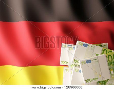 Euro banknotes bundle on Germany flag. 3d rendering.