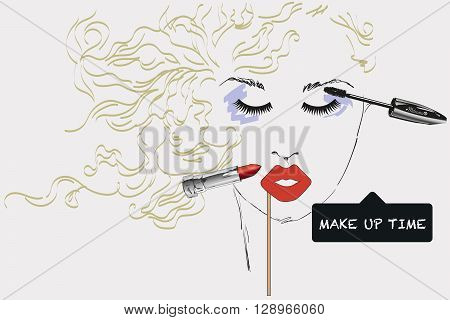 Features woman face with make up artist objects, sketch, hand draw. Time to make up hand drawn poster with lettering. Design elements for advertising of cosmetics. Morning makeup and personal care.