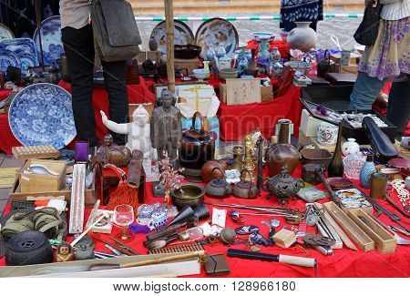 KOCHI, JAPAN- April 24: Weekly Flea market on Kochi-Nichiyoichi (Otesuji-street), merchant display curiosities and vintage for sale on April 24,2016, the Japan.