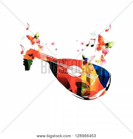 Colorful lute design with butterflies. Vector illustration
