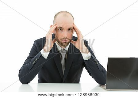 Caucasian business man stressed at the office. Isolated on white background.
