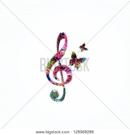 Vector illustration of colorful G-clef with butterflies