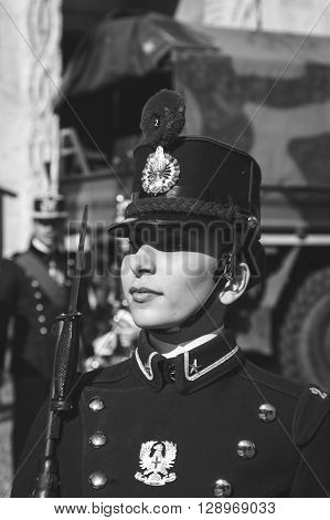 Young Cadet Woman Of Teulie Military School In Milan, Italy