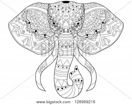 Elephant coloring book for adults vector illustration. Anti-stress coloring for adult. Zentangle style. Black and white lines. Lace pattern