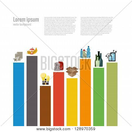 Garbage sorting flat concept. Vector illustration of garbage sorting categories with organic, paper, plastic, glass, metal, e-waste, batteries, light bulbs and mixed waste. Garbage sorting icons set