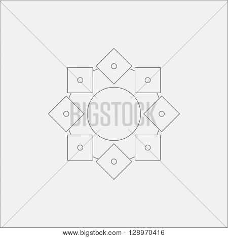 Abstract Circle Square Mandala Minimal Odd Design
