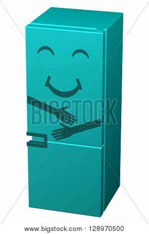 Turquoise smiling refrigerator isolated on white background. 3D rendering.