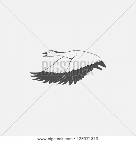 flying goose in grayscale style - vector illustration