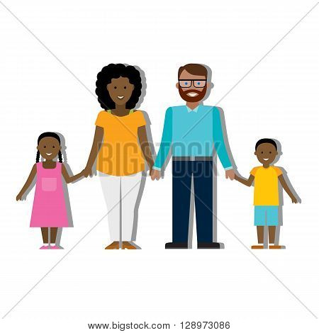 Multicultural traditional family with parents and children. Happy family. Boy and girl. African american mother. Smiling family