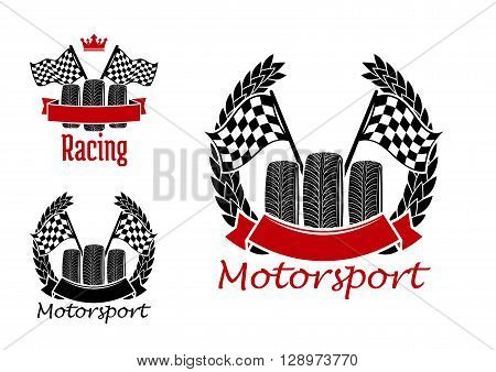 Motorcycle racing, motocross, rally and auto racing symbols for motorsport design with wheels and checkered racing flags encircled by winner laurel wreaths, ribbon banners and crown