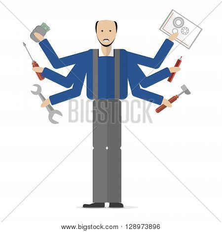 Carpenter on white background. Isolated cartoon character. Multitasking plumber or carpenter standing with mechanic tools. Gear, hammer, screwdriver.