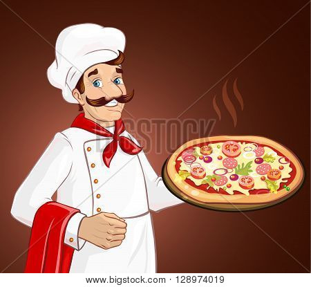 Chef cook holding pizza. Plate with pizza. Ingredients as cheese, tomatoes, greens. Fresh and delicious.