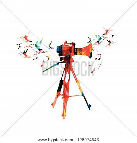 Vector illustration of colorful camera with hummingbirds