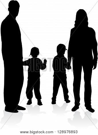 People silhouettes. Silhouette family. Vector conceptual illustration.