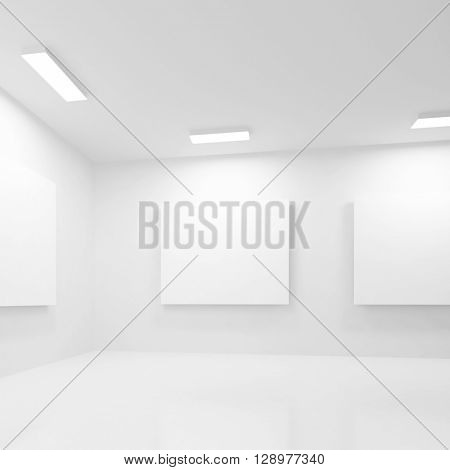3d Rendering of Abstract Gallery Interior. White Modern Architecture Background