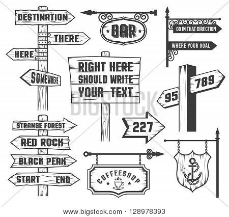 Arrows signboards signposts in comics style. Text on a separate layer and can be easily disabled.