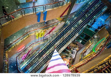Hong Kong China - September 23 2007: Futuristic architectures of the Langham Place shopping center in the Kowloon peninsula