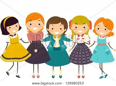 Stickman Illustration of Little Girls Wearing Vintage Clothing