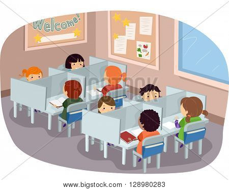 Stickman Illustration of Kids Studying at a Library