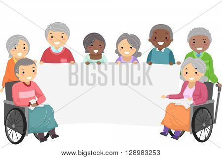 Stickman Illustration of Senior Citizens Holding a Banner