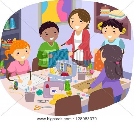 Stickman Illustration of Kids Taking Sewing Lessons