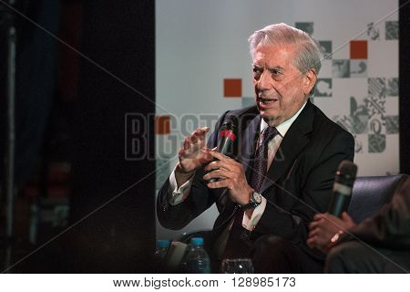 Buenos Aires Argentina - May 6 2016: Nobel Laureate in Literature Mario Vargas Llosa speaks during the presentation of his book Cinco esquinas as part of Buenos Aires International Book Fair at La Rural on May 06 2016 in Buenos Aires Argentina.