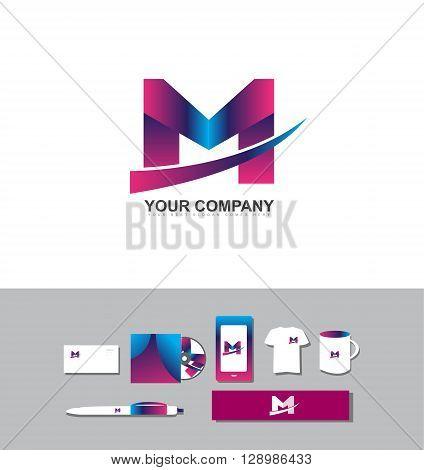 Corporate identity vector company logo icon element template alphabet letter M purple