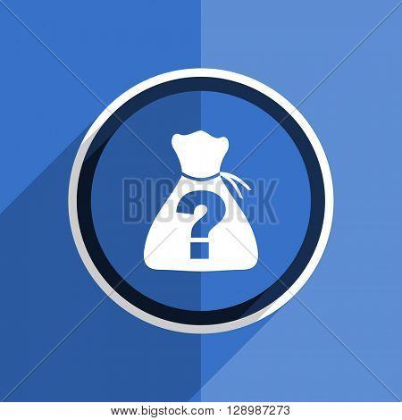 flat design blue riddle web modern icon