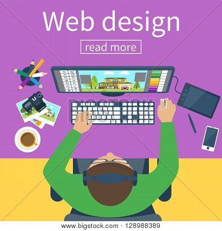 Workplace of designer. Creative worker. Designer items tools equipment. Flat design style. Vector illustration. Designer draws on tablet. Concept graphic design. Designer at table. Man designer.