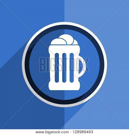 flat design blue beer web modern icon