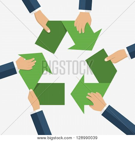Hands Of Men Holding Sign Recycling