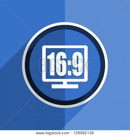 flat design blue 16 9 display web modern icon