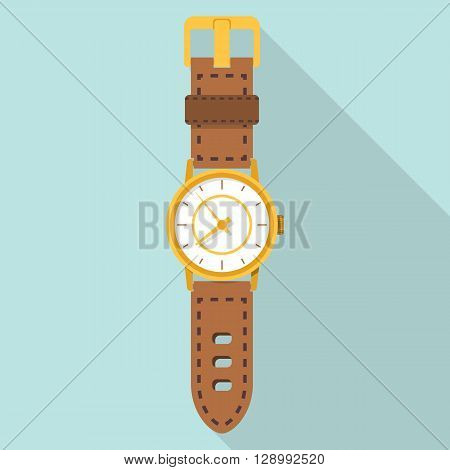 Hand watch. Watch icon. Isolated icon watches flat design style long shadows. Vector illustration. Wrist watch. Accessories men's.