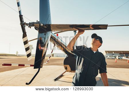 Pilot Doing Pre Flight Inspection