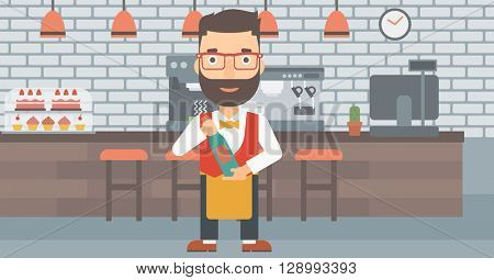Waiter holding bottle of wine.
