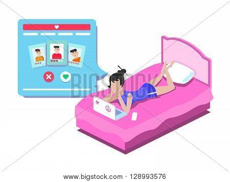 Web online dating. Internet communication, love social technology, chat people, profile flat vector illustration