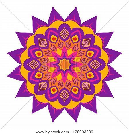 Mandala of colored traditional Indian elements lilac yellow gamma.