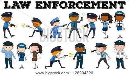 Policeman and law enforcement poster illustration