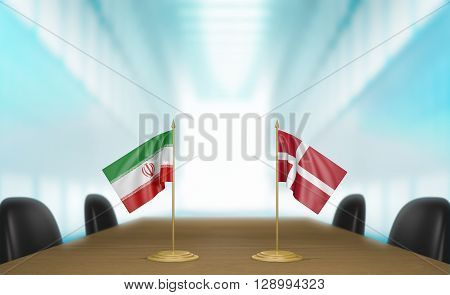 Iran and Denmark relations and trade deal talks, 3D rendering poster