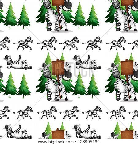 Seamless background  with zebra and pinetree illustration