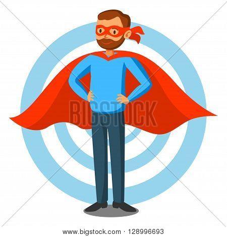 Cartoon superhero man in red cape male superhero programmer superhero. Vector illustration