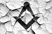Grunge cracked Masonic freemasonry symbol poster
