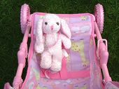 pink bunny rabbit in a pram poster