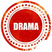 drama, red grunge stamp on solid background poster