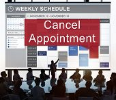 Cancel Cancellation Appointment Postpone Concept poster