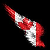 The Abstract wing with Canada flag on black background poster