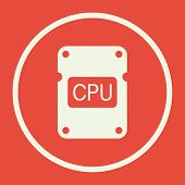 Cpu Icon In Vector Format. Premium Quality Cpu Symbol. Web Graphic Cpu Sign On Red Background. poster