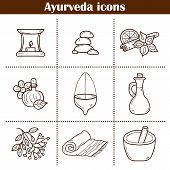 Cartoon hand drawn illustration with ayurveda icons. Healthcare ayurveda treatment concept. Cartoon objects on ayurveda medicine theme. Alternative medicine. Spa center aromatherapy relaxation poster