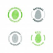 Vector flat eco product emblem. Ecological cosmetic sign. Eco badge. Finger stamp. Natural product line. Nature certificate quality. Eco symbol. Natural cosmetics. Eco friendly logo. Bio organic product. poster